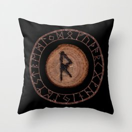 Raidho Elder Futhark Rune Travel, journey, vacation, relocation, evolution, change of place Throw Pillow