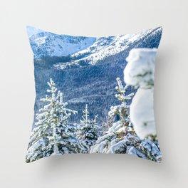 Powder Forest // Through the Trees Blue Snow Cap Mountain Backdrop Throw Pillow