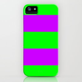 Neon Green & Purple Wide Horizontal Stripes #1 iPhone Case