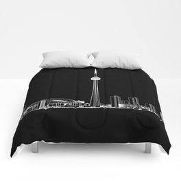 Toronto Skyline - White on Black Comforters