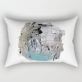 Riptide: an abstract mixed media piece in black, white, brown and blue Rectangular Pillow