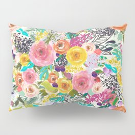 Vibrant Autumn Floral with Turquoise Pillow Sham