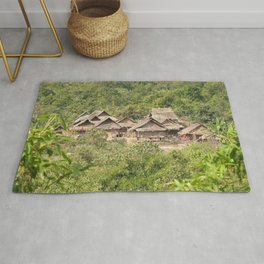 Akha Village in the Tropical Jungle, Laos Rug