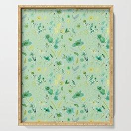 Mint Green Verdant Flowers Serving Tray