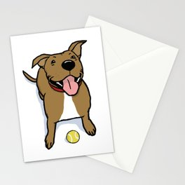 Big Smiley Brown Dog with Tennis Ball Stationery Cards