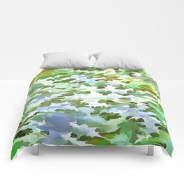 Foliage Abstract Pop Art In White Green and Powder Blue Comforters