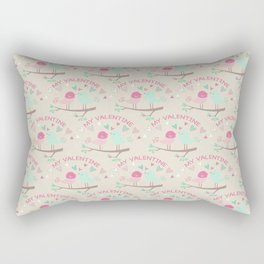 Pink teal gren love birds my valentine romantic floral Rectangular Pillow
