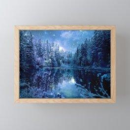 A Cold Winter's Night : Turquoise Teal Blue Winter Wonderland Framed Mini Art Print