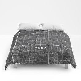 Mesa Map, Arizona USA - Charcoal Portrait Comforters