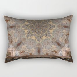 Copper Brown Terracotta Mandala and Tile Rectangular Pillow