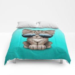 Cute Kitten Wearing Sunglasses Comforters