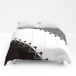 Lacing . Black , white and grey . Comforters
