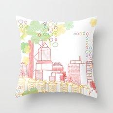 Crayon Portland Oregon Throw Pillow