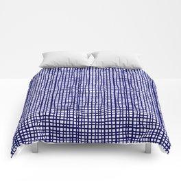 Grid indigo blue bold dramatic modern minimal abstract painting lines gridded pattern print minimal Comforters