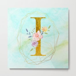 Gold Foil Alphabet Letter I Initials Monogram Frame with a Gold Geometric Wreath Metal Print