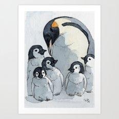 Penguin family 515 Art Print