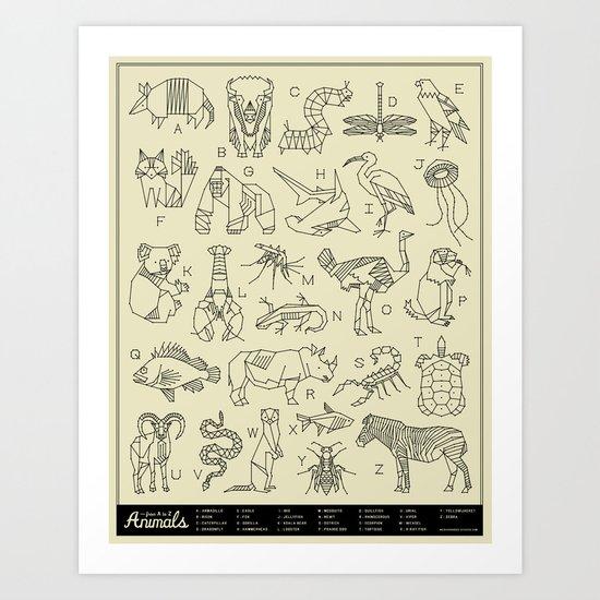 Animals A-Z Art Print