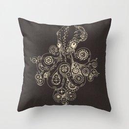 Steampunk Octopus Art Print Throw Pillow