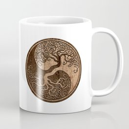 Rough Wood Grain Effect Tree of Life Yin Yang Coffee Mug
