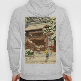 Asano Takeji Snow In Yuki Shrine Vintage Japanese Woodblock Print East Asian Beautiful Art Hoody