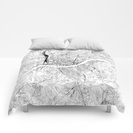 Cincinnati White Map Comforters