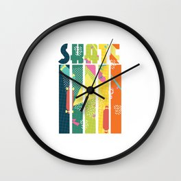 Skateboarder Retro Skater Vintage Geometric Pattern Wall Clock