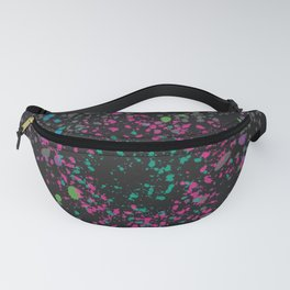 Vibrant Neons on Black Paint Splatter Design Fanny Pack