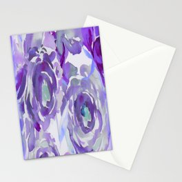 Purple Haze Painterly Floral Abstract Stationery Cards