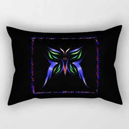 Neon Butterfly. Butterfly of colored strokes on a black background in a frame of the stars Rectangular Pillow