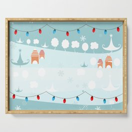 Happy holidays winter, snow and light bulb  Serving Tray
