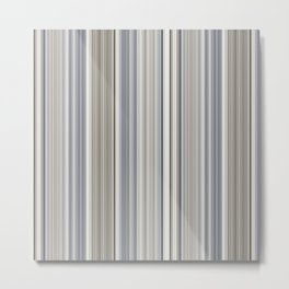 Blue grey Tan Stripes Metal Print