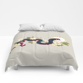 Snake and flowers 2 Comforters