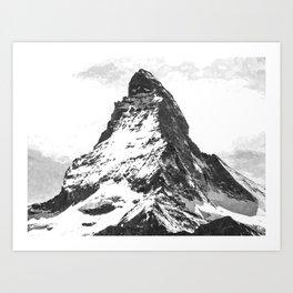 Black and White Mountain Art Print