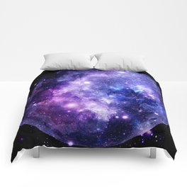 Galaxy Planet Purple Blue Space Comforters