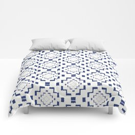 Rough Geometric Aztec Print - Navy Blue Comforters