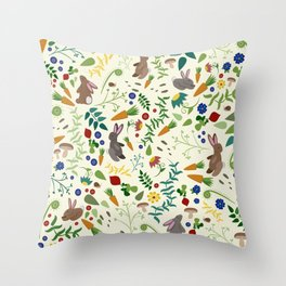 Rabbits In The Garden Throw Pillow