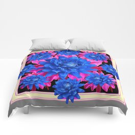 Decorative Blue-Purple Tropical Grey Floral Comforters