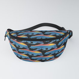 California bear with superimposed mountains and beach shoreline Fanny Pack
