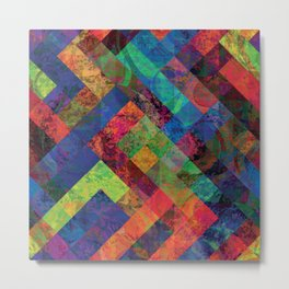 Abstract Colorful Checkered Hippy Design Metal Print
