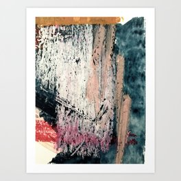 Kelly: a bold, textured, abstract mixed media piece in bright pinks, blues, and white Art Print