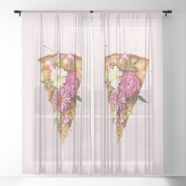 FLORAL PIZZA Sheer Curtain