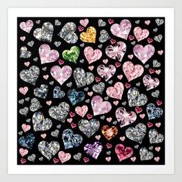 Heart Diamonds are Forever Love Black Art Print
