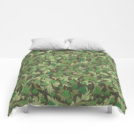 Green ivy with ornament on dark brown background Comforters