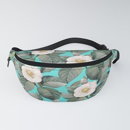 White Camellia Floral On Teal Pattern Fanny Pack