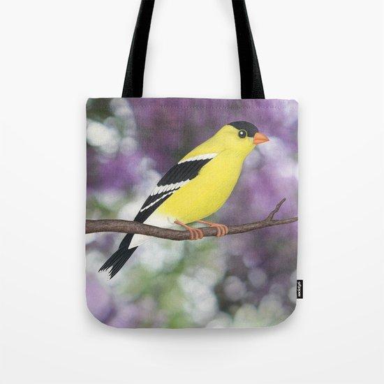 American goldfinch male bokeh Tote Bag