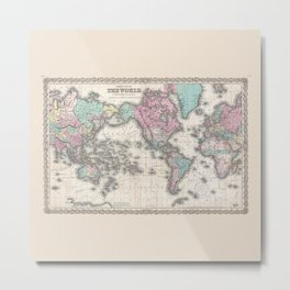 1855 Colton Map of the World on Mercator Projection Metal Print