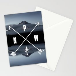 PNW Pacific Northwest Compass - Mt Hood Adventure Stationery Cards