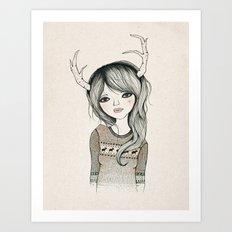 Antler Girl Art Print