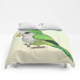 Very cute green parrot Comforters