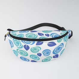 Pretty Aqua Blue and Teal Floral Pattern Fanny Pack